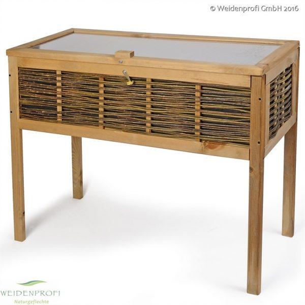 Balkonhochbeet Kiefer/Weide mit Deckel, 40 x 100 x 80