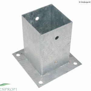 Aufschraubhülse für quadratische Pfosten 91 x 91 mm aus verzinktem Stahl