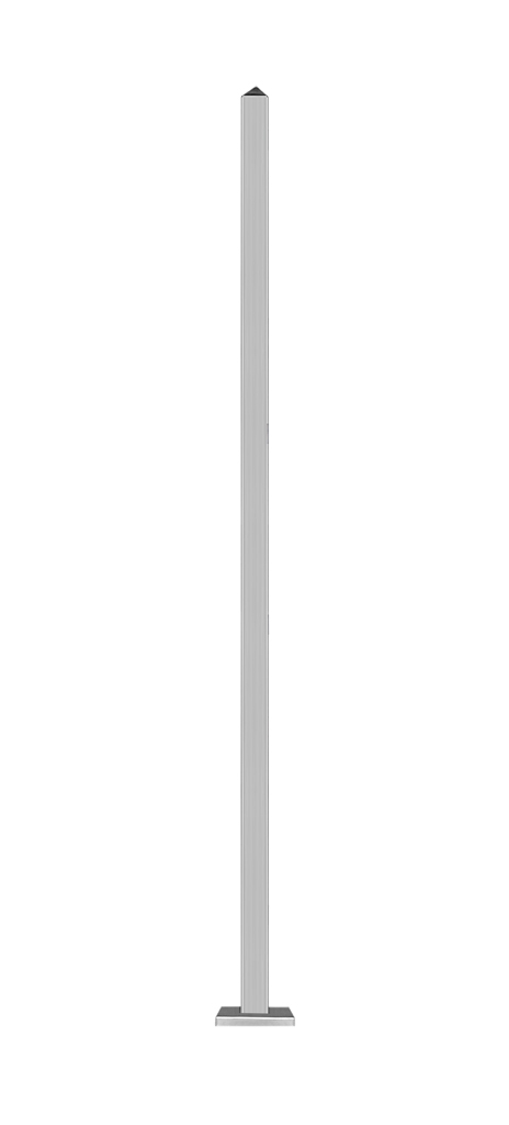 Zaunpfosten Edelstahl zum Einbetonieren mit Abdeckung 6 x 6 x 230 cm