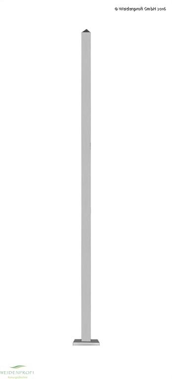 Zaunpfosten Edelstahl zum Einbetonieren, 6 x 6 x 230, Ecke 90°